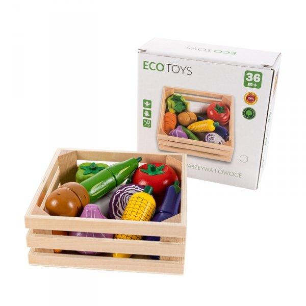 Lebensmittel Set Holz Spielküche Kaufladen GEMÜSE in Holzkiste ECOTOYS Zubehör