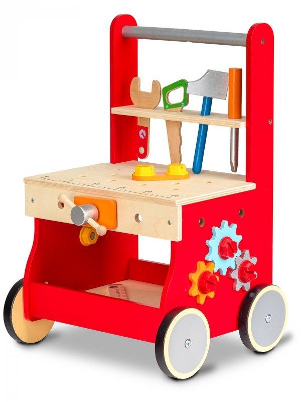 Lauflernhilfe Kinderwerkbank+Zubehör ECOTOYS Kinderwerkstatt Lauflernwagen HOLZ