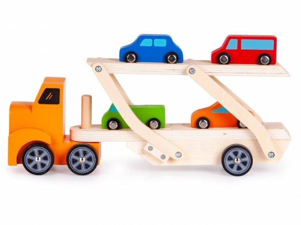 Holzfahrzeug AUTOTRANSPORTER Holz LKW+4 Autos ECOTOYS Spielzeug Holzauto Set