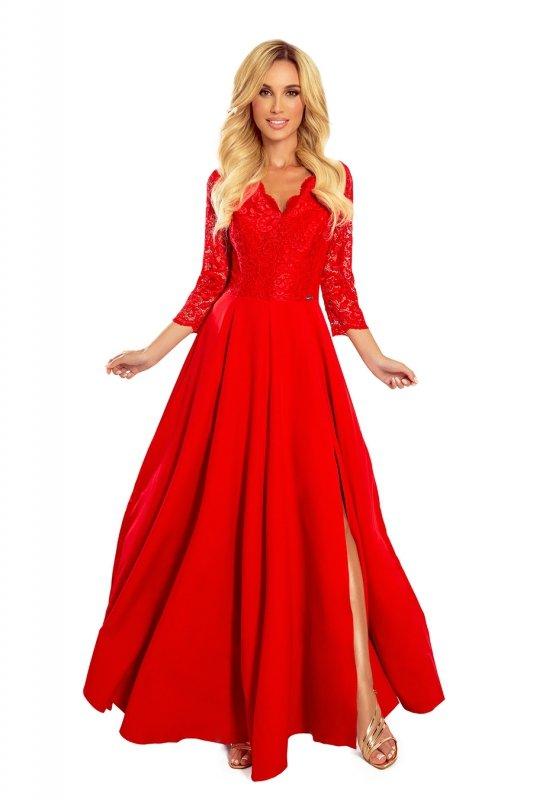 rozkloszowana sukienka maxi z koronkową górą i głębokim rozporkiem z przodu