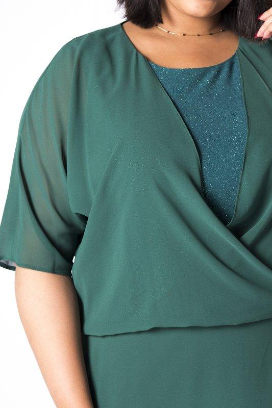 tiulowa sukienka maxi z narzutką imitującą bluzkę