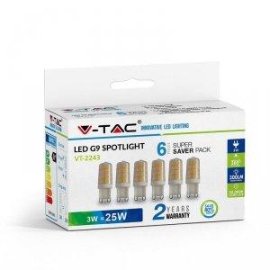 Żarówka LED V-TAC 3W G9 (Opak. 6szt) VT-2243 3000K 300lm