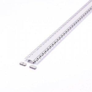 Profil Aluminiowy V-TAC 2mb Anodowany, Klosz Mleczny, Do gipsowania, Na dwie taśmy VT-8101