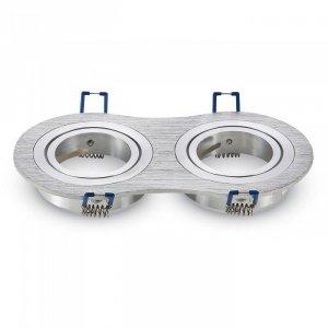 Oprawa Oczko V-TAC Aluminiowa Odlew 2xGU10 Okrągła Aluminium Szczotkowane VT-783