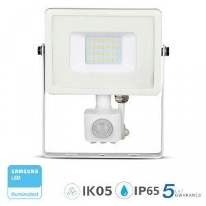 Projektor LED V-TAC 20W SAMSUNG CHIP Czujnik Ruchu Funkcja Cut-OFF Biały VT-20-S 3000K 1600lm 5 Lat Gwarancji