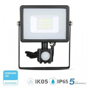 Projektor LED V-TAC 20W SAMSUNG CHIP Czujnik Ruchu Funkcja Cut-OFF Czarny VT-20-S 3000K 1600lm 5 Lat Gwarancji