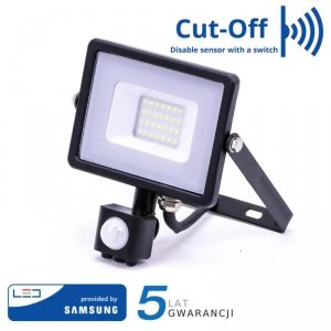 Projektor LED V-TAC 20W SAMSUNG CHIP Czujnik Ruchu Funkcja Cut-OFF Czarny VT-20-S 4000K 1600lm 5 Lat Gwarancji