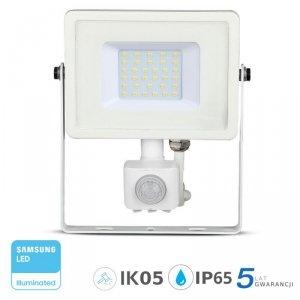 Projektor LED V-TAC 30W SAMSUNG CHIP Czujnik Ruchu Funkcja Cut-OFF Biały VT-30-S 3000K 2400lm 5 Lat Gwarancji