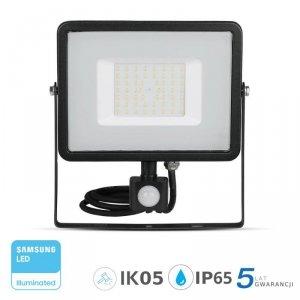 Projektor LED V-TAC 50W SAMSUNG CHIP Czujnik Ruchu Funkcja Cut-OFF Czarny VT-50-S 6400K 4000lm 5 Lat Gwarancji