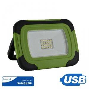 Projektor LED V-TAC 10W Ładowalny USB SAMSUNG CHIP Funkcja SOS 3,7V Li-Ion IP44 VT-11-R 6400K 700lm