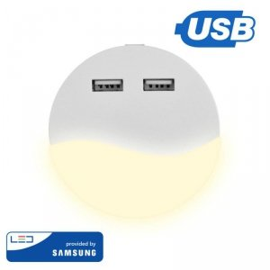 Lampka Nocna do Gniazdka LED z USB V-TAC SAMSUNG CHIP Okrągła VT-84 4000K 10lm