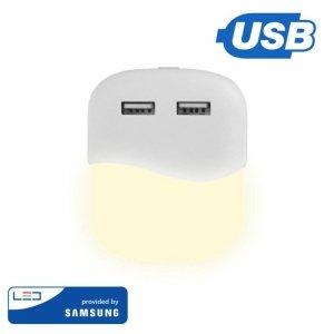 Lampka Nocna do Gniazdka LED z USB V-TAC SAMSUNG CHIP Kwadrat VT-84 4000K 10lm