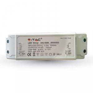 Zasilacz do Paneli LED 45W Ściemnialny zwykłym ściemniaczem 30-42V 1050mA 230V A++ V-TAC 5 Lat Gwarancji