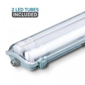 Oprawa Hermetyczna LED V-TAC PC/PC 2x120cm (2 x 18W) (Tuby LED w zestawie) VT-12023 6400K 3400lm