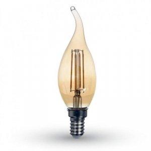 Żarówka LED V-TAC 4W Filament E14 Świeczka Bursztyn Płomyk VT-1949 2200K 350lm