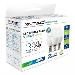 Żarówka LED V-TAC 5.5W E14 Świeczka (Opak. 3szt) VT-2076 6400K 470lm
