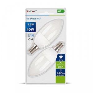 Żarówka LED V-TAC 5.5W E14 Świeczka (Blister 2szt) VT-2106 4000K 470lm