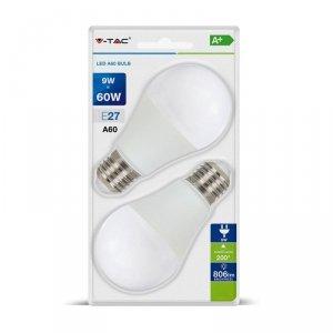 Żarówka LED V-TAC 9W E27 A60 (Blister 2szt) VT-2139 2700K 806lm