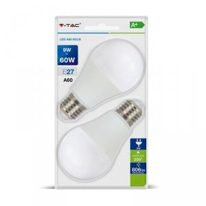 Żarówka LED V-TAC 9W E27 A60 (Blister 2szt) VT-2139 6400K 806lm
