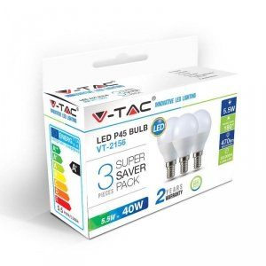 Żarówka LED V-TAC 5.5W E14 P45 Kulka (Opak. 3szt) VT-2156 2700K 470lm
