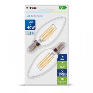 Żarówka LED V-TAC 4W Filament E14 Świeczka Przezroczysta (Blister 2szt) VT-2174 2700K 400lm