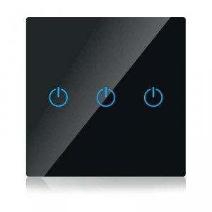 Włącznik Szklany WiFi V-TAC Potrójny Czarny Amazon Alexa, Google Home, Nest VT-5005