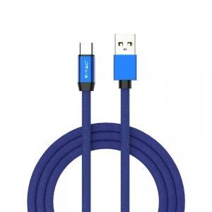 Przewód Micro USB V-TAC Typ C 1M Niebieski Seria Ruby VT-5342