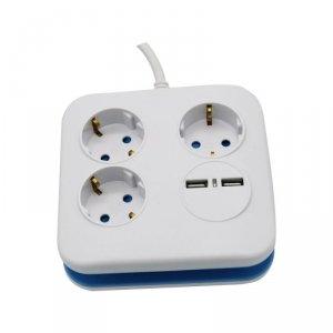 Przedłużacz Kwadrat 3 gniazda 2 porty USB 1.55MM 1.4M V-TAC VT-1153-2