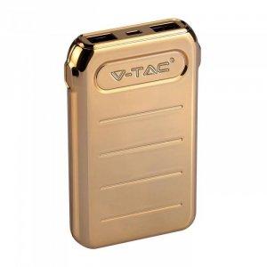 Power Bank V-TAC 10000mah Złoty Dual USB+TypeC VT-3522