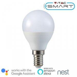 Żarówka LED V-TAC 4.5W E14 Kulka P45 SMART WiFi RGB+WW+CW VT-5154 RGB+2700K-6400K 300lm