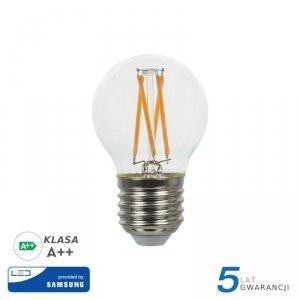 Żarówka LED V-TAC SAMSUNG CHIP 4W E27 Filament Kulka G45 VT-244 2700K 400lm 5 Lat Gwarancji