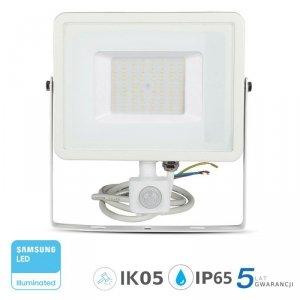 Projektor LED V-TAC 50W SAMSUNG CHIP Czujnik Ruchu Funkcja Cut-OFF Biały VT-50-S 3000K 4000lm 5 Lat Gwarancji