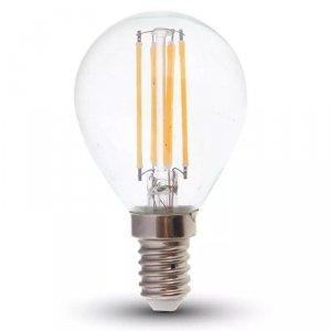 Żarówka LED V-TAC 6W Filament E14 Kulka P45 Przeźroczysta VT-2466 6400K 600lm