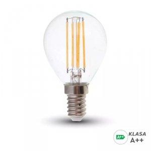 Żarówka LED V-TAC 6W Filament E14 Kulka P45 A++ Przeźroczysta VT-2486 4000K 800lm
