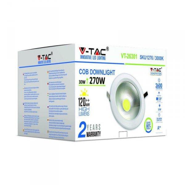 Oprawa 30W LED V-TAC COB Downlight Okrągły A++ 120lm/W VT-26301 3000K 3600lm