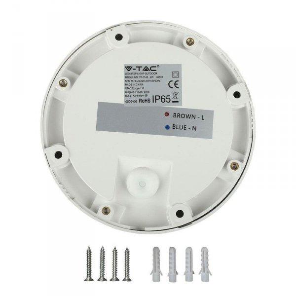 Oprawa Schodowa 2W LED V-TAC Biała Okrągła 230V IP65 VT-1142 4000K 60lm