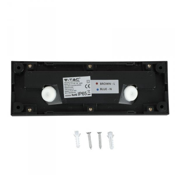 Oprawa Schodowa 3W LED V-TAC Czarny Prostokąt 230V IP65 VT-1162 3000K 110lm