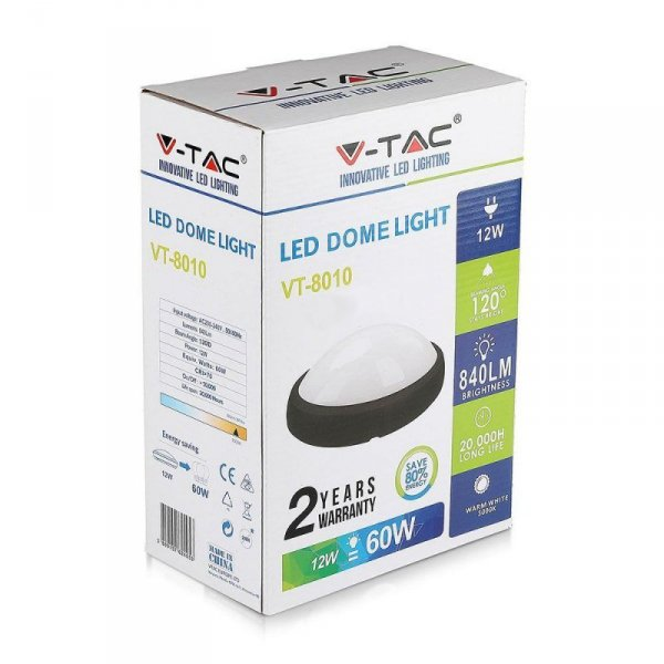 Plafon 12W LED V-TAC Owal Czarna IP54 VT-8010 3000K 840lm