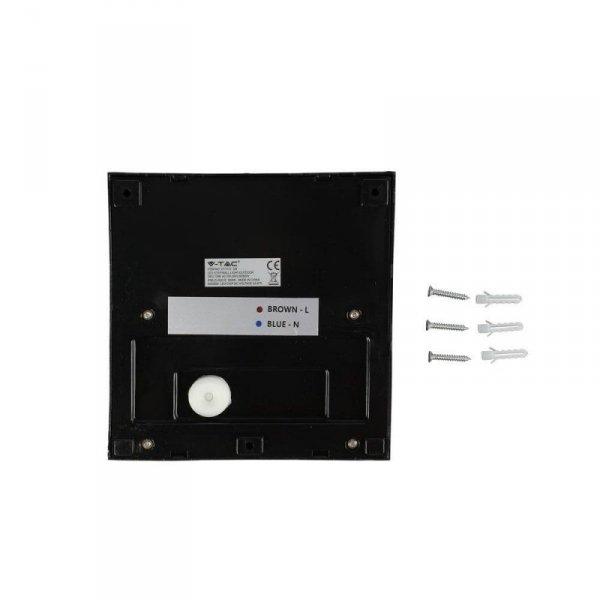Oprawa Ścienna Elewacyjna 3W LED V-TAC Czarny Kwadrat 230V IP65 VT-1172 4000K 210lm
