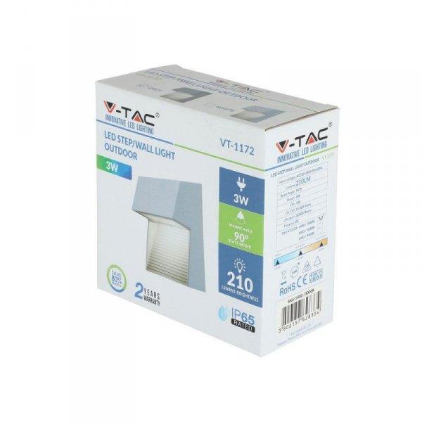 Oprawa Ścienna Elewacyjna 3W LED V-TAC Szary Kwadrat 230V IP65 VT-1172 3000K 210lm