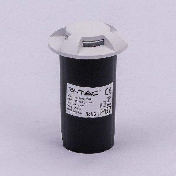 Oprawa Gruntowa 1W LED Biała 4-stronna IP67 VT-1171 3000K 10lm