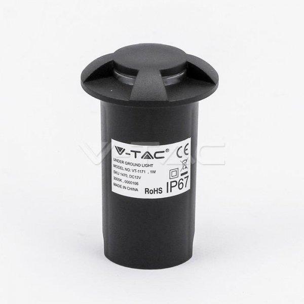 Oprawa Gruntowa 1W LED Czarna 4-stronna IP67 VT-1171 3000K 10lm