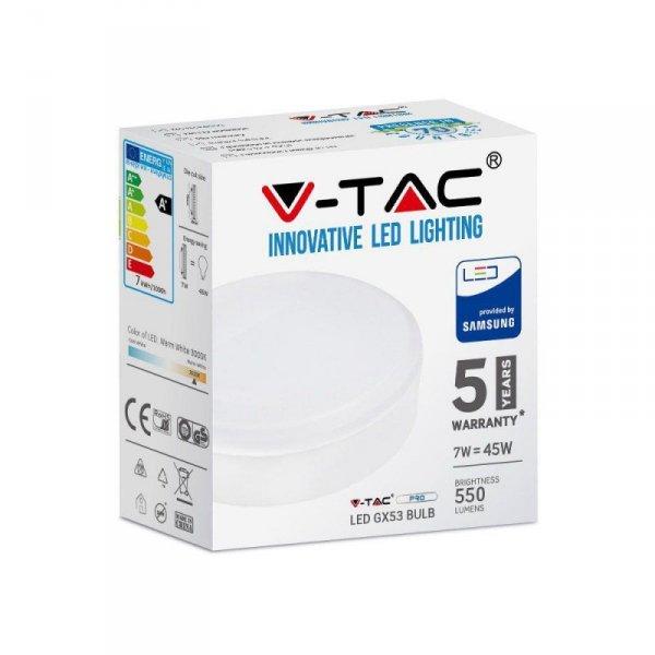 Żarówka LED V-TAC SAMSUNG CHIP 7W GX53 7W GX53 VT-207 4000K 550lm 5 Lat Gwarancji