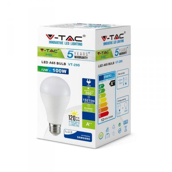 Żarówka LED V-TAC SAMSUNG CHIP 12W E27 A65 A++ VT-295 4000K 1521lm 5 Lat Gwarancji