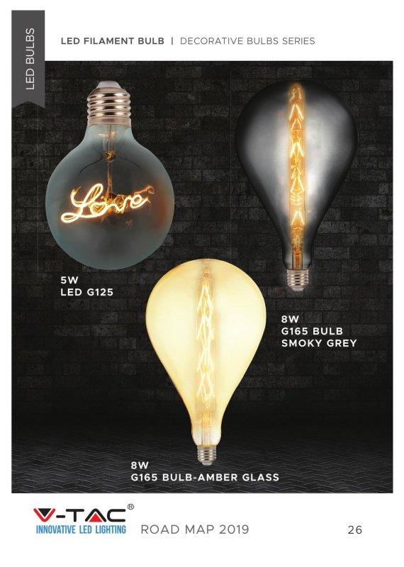 Żarówka LED V-TAC 5W E27 LOVE Filament G125 VT-2205 2200K 70lm