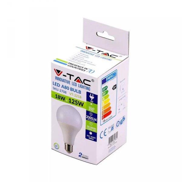 Żarówka LED V-TAC 18W E27 A80 VT-2218 6000K 2000lm