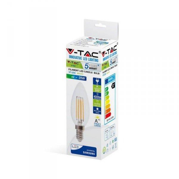 Żarówka LED V-TAC SAMSUNG CHIP 4W E14 Filament Świeczka VT-254 2700K 400lm 5 Lat Gwarancji