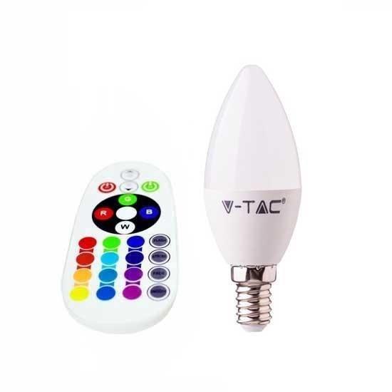 Żarówka LED V-TAC 3.5W E14 Świeczka Pilot VT-2214 6400K+RGB 320lm