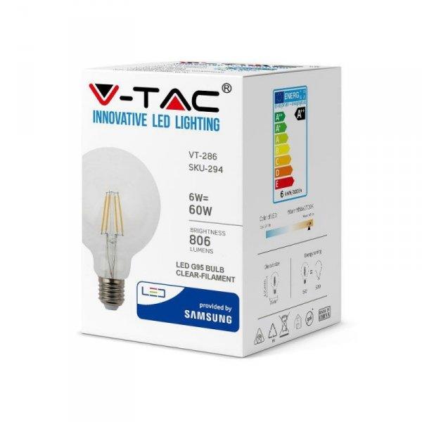 Żarówka LED V-TAC SAMSUNG CHIP 6W E27 Filament G95 VT-286 2700K 806lm 3 Lata Gwarancji