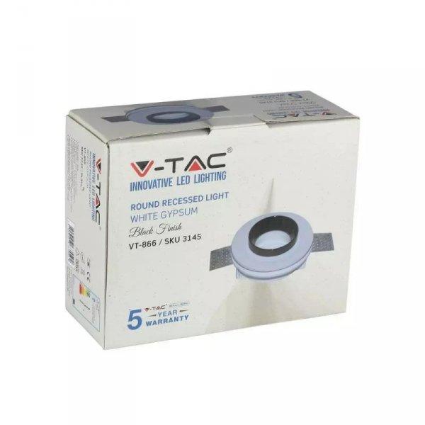 Oprawa Oczko V-TAC GIPS GU10 Okrągła Wpuszczana G-K Biały+Czarny VT-866 5 Lat Gwarancji